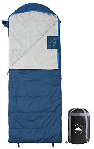 All Season XL Hooded Sleeping Bag with Compression Sack - Perfect for Camping, Backpacking, Hiking....