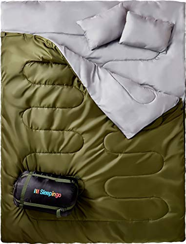 Sleepingo Double Sleeping Bag for Backpacking, Camping, Or Hiking. Queen Size XL! Cold Weather 2...