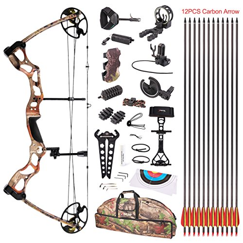 Leader Accessories Compound Bow Hunting Bow 50-70lbs with Max Speed 310fps (Autumn Camo with Full...