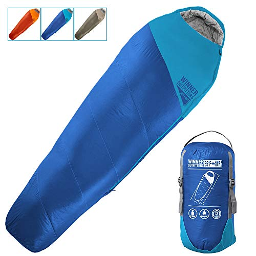 WINNER OUTFITTERS Mummy Sleeping Bag with Compression Sack, It's Portable and Lightweight for 3-4...