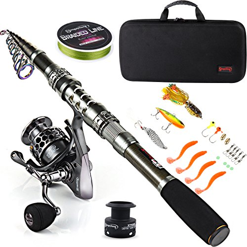 Sougayilang Fishing Rod Combos with Telescopic Fishing Pole Spinning Reels Fishing Carrier Bag for...